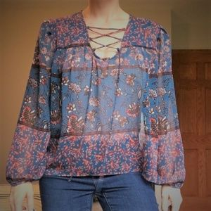 NEW Everly for Francesca's Blue Floral Peasant Top
